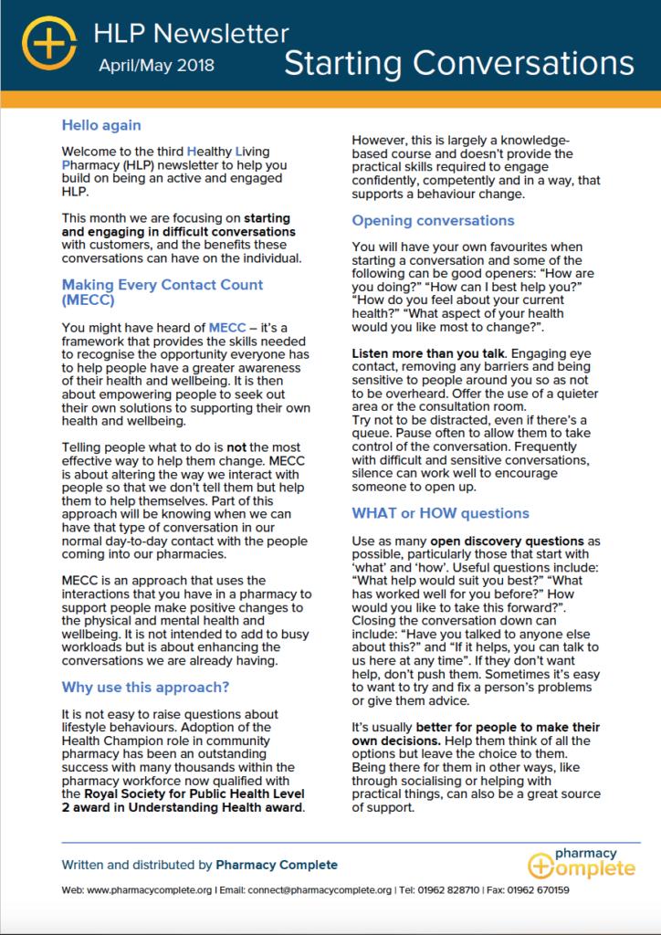 Starting Conversations HLP Newsletter