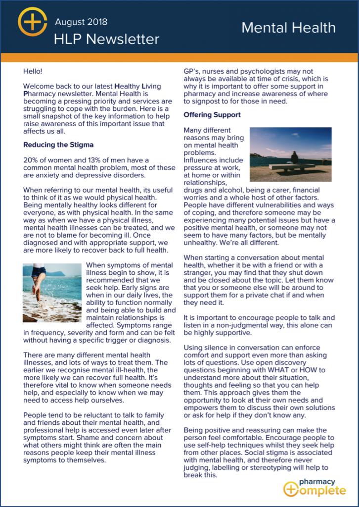Mental Health HLP Newsletter